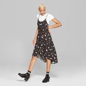 Wild Fable Polka Dot & Floral Slip Dress Hi Low L